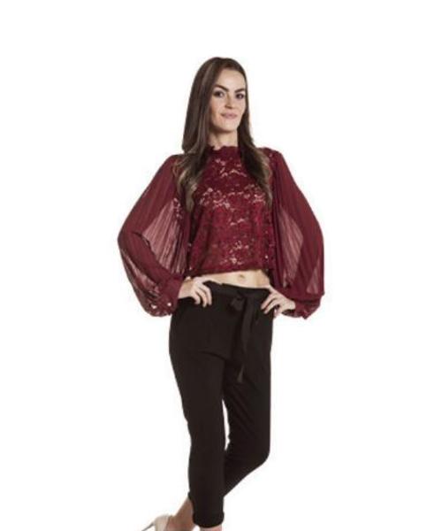 blusa plissè e pizzo e pantaloni con fiocco abbigliamento donna we-shop