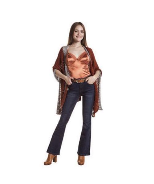 cardigan con pailettes body con inserti e jeans svasati abbigliamento donna we-shop