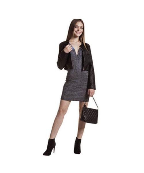 giubbino in ecopelle e abito lamè abbigliamento donna we-shop