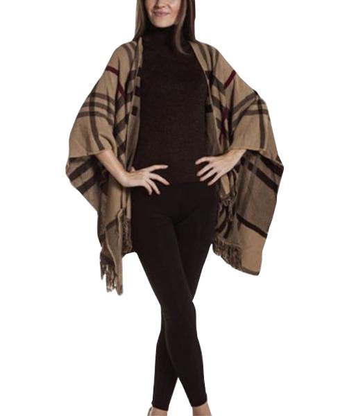 stola a quadri maglia a collo alto smanicato e pantaloni stretch abbigliamento donna we-shop