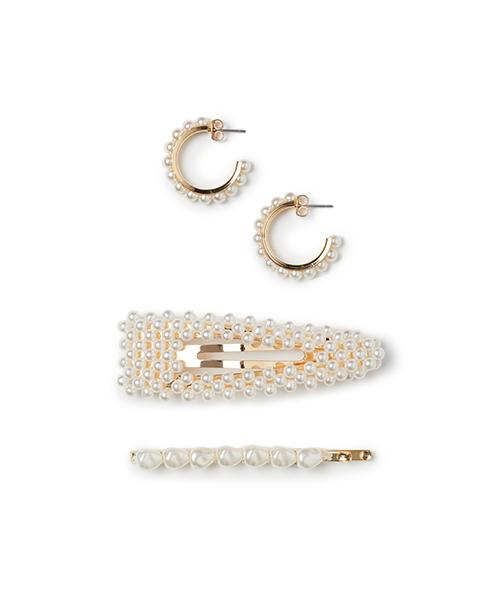 mollette e orecchini con perle gioielli abbigliamento we-shop
