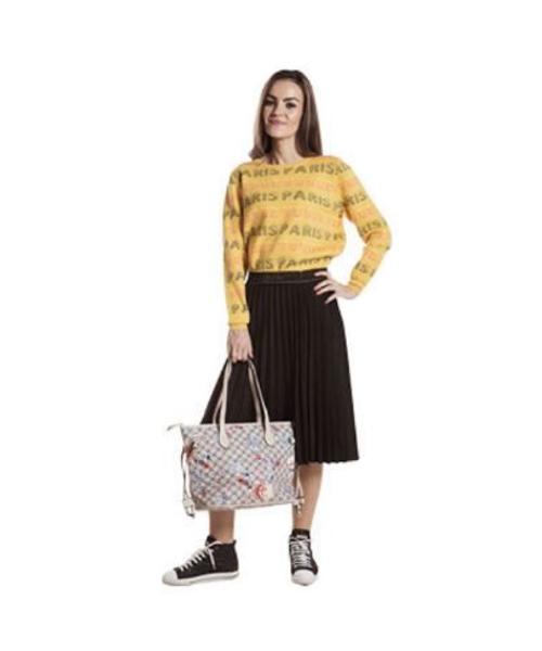 maglia fantasia e gonna plissè abbigliamento donna we-shop
